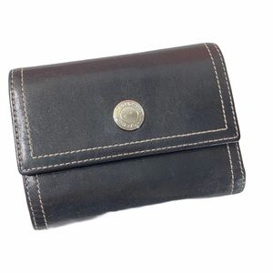 Coach Leather Small Triple Fold Black Wallet